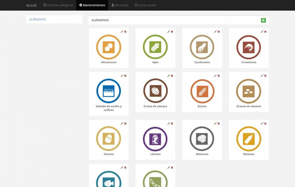 Arzak - Software web de gestión de especias, alérgenos, recetas, etiquetas